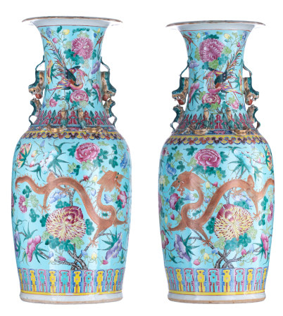 A pair of large Chinese turquoise ground and polychrome vases