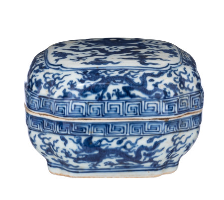 A Chinese Ming style blue and white rectangular box and cover
