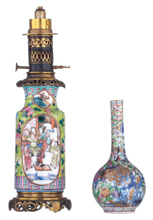 A small Chinese famille rose and gilt bottle vase