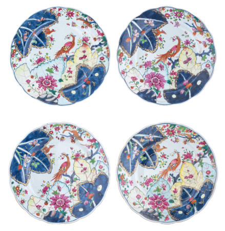 Four Chinese famille rose tobacco leaf dishes
