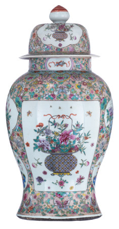 An impressive Chinese famille rose vase with cover