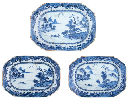 Three Chinese blue and white Nanking porcelain plates