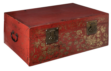 An Oriental red lacquered storage trunk
