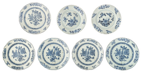 Five Chinese blue and white floral decorated dishes
