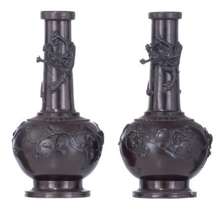 A pair of East Asian patinated bronze vases