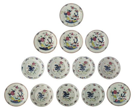 Seven Chinese famille rose floral decorated dishes; added six ditto dishes