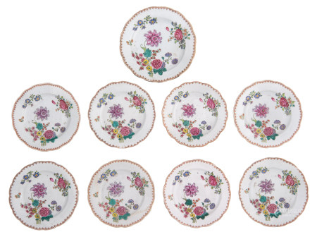 Eight Chinese famille rose dishes