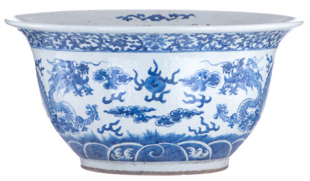 A Chinese blue and white jardinière