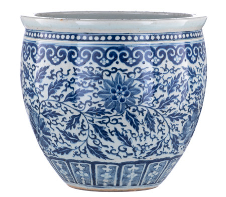 A Chinese blue and white cachepot