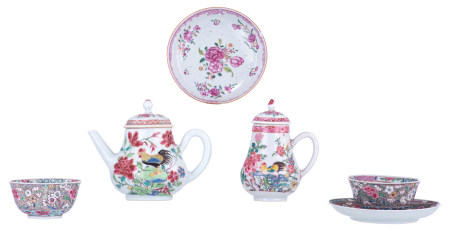 A Chinese famille rose export porcelain 'cockerel' teapot and sugar caster; added two ditto cups and saucers