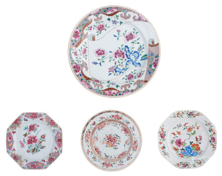 Two Chinese famille rose octagonal dishes and a ditto dish