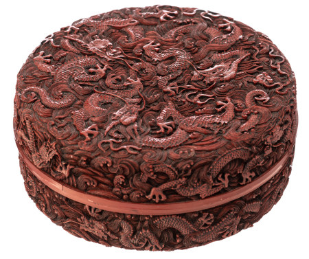 A Chinese style cinnabar red lacquer box and cover