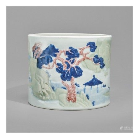 AN UNDERGLAZE-BLUE, COPPER-RED, AND CELADON-GLAZED 'LANDSCAPE' BRUSHPOT,   KANGXI MARK AND PERIOD
