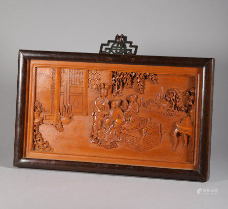 Yellow Wood Character Hanging Panel from Qing 清代黄楊木人物故事掛屏