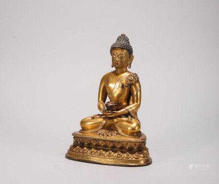 Copper and Gold Buddha Statue from Qing 清代銅鎏金釋迦摩尼 佛造像