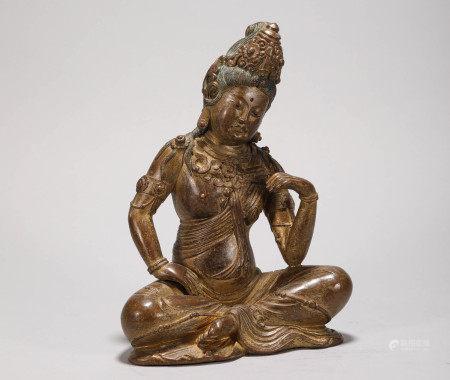 Copper Avalokitesvara Statue from Qing 清代銅質觀音造像