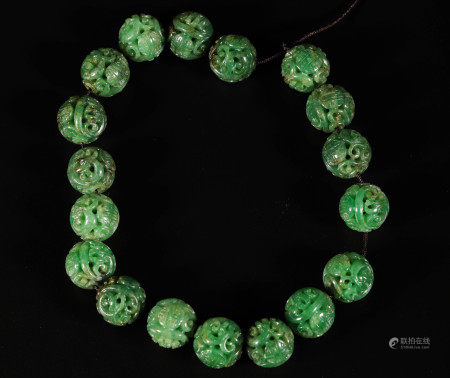 Green Jade Hollow Out Design Beads from Qing 清代翡翠镂空雕念珠