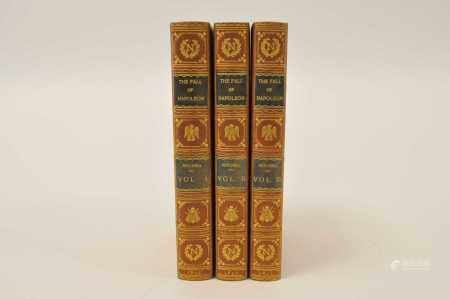MITCHELL, Lieut-Col J. The Fall of Napoleon, 3 vols 1845. Half calf gilt by Bayntun, covers bound in