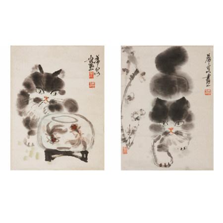 龐希泉 貓兩幅