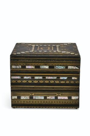 A MOTHER-OF-PEARL INLAID LACQUER TIERED BOX