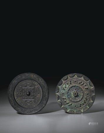 漢 青銅「尚方」銘規矩鏡及連峰形鈕星雲紋圓鏡各一枚