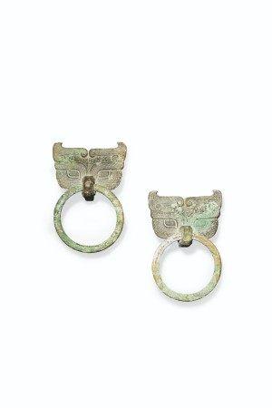 漢 青銅饕餮紋鋪首銜環一對