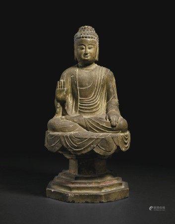 唐 彩繪石雕佛坐像