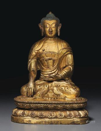 清乾隆 鎏金銅錘鍱釋迦摩尼佛坐像 「大清乾隆年敬造」 「難施佛」單行刻款