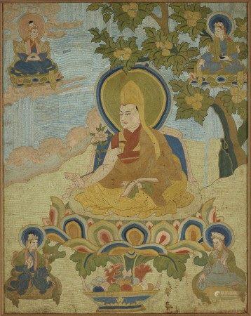清十八世紀 緞繡達賴喇嘛唐卡