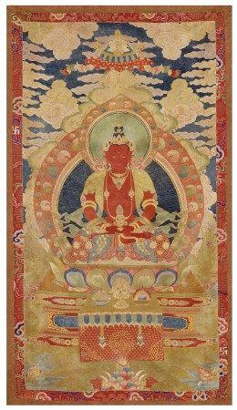 清十八世紀 緞繡阿彌陀佛唐卡