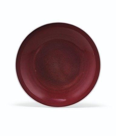 清康熙 祭紅釉盤