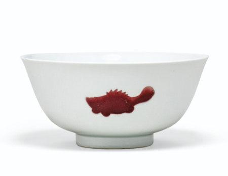 清雍正 白地釉裏紅三魚紋盌 雙圈六字楷書款