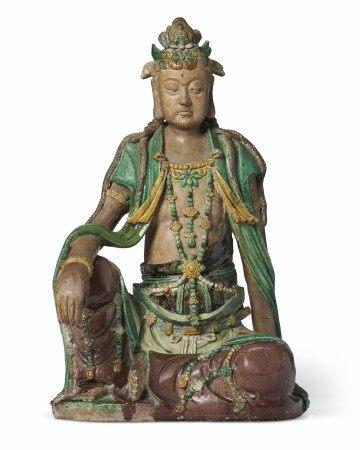 明至清初十六/十七世紀 素三彩觀音坐像