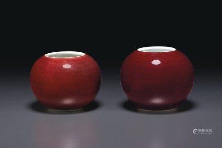 清十八世紀 紅釉水盂兩件