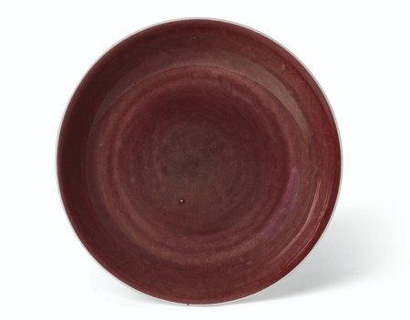 清雍正 祭紅釉盤 雙圈六字楷書款