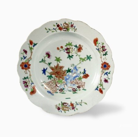 A Famille-Rose 'Floral' Lobed Plate, 18th Century