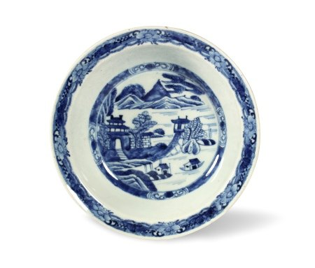 A Blue and White 'Landscape' Plate, Mid-Qing Dynasty