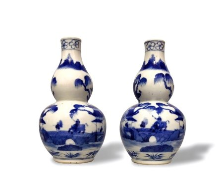 A Pair of Blue and White Double Gourd Vases, Late Qing Dynasty