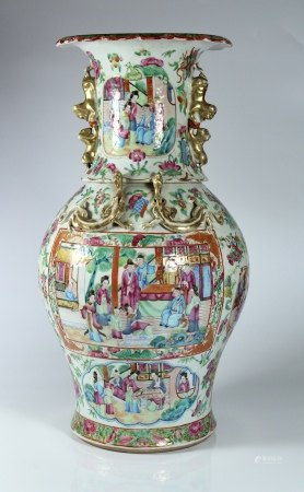 A Large Canton 'Figure' Vase, Qing Dynasty