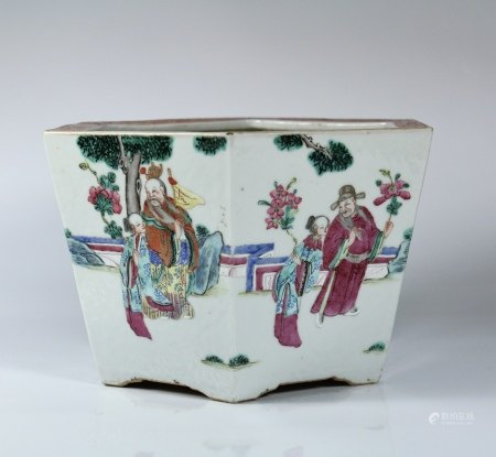 A Famille-Rose 'Figure' Jardinière, Daoguang Period, Qing Dynasty