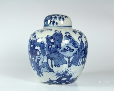 A Blue and White 'Figure' Jar with Cover, Kangxi Mark, Guangxu Period, Qing Dynasty