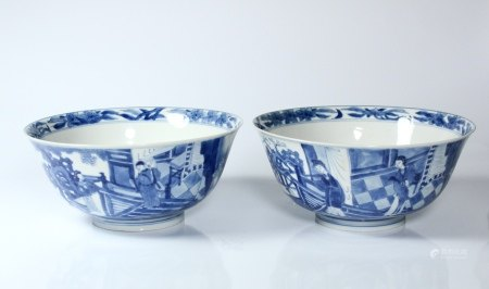 A Pair of Blue and White 'Romance of the Western Chamber' Bowls, Chenghua Mark, Kangxi Period, Qing Dynasty
