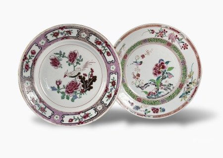 A Pair of Famille-Rose 'Floral' Plates, 18th Century