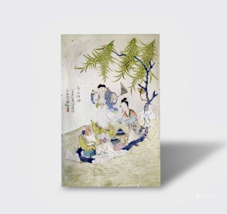 A Qianjiangcai 'Figure' Porcelain Plaque, Guangxu Period, Qing Dynasty