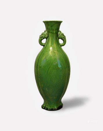 A Green-Glazed Vase with Handles, Daoguang Period, Qing Dynasty