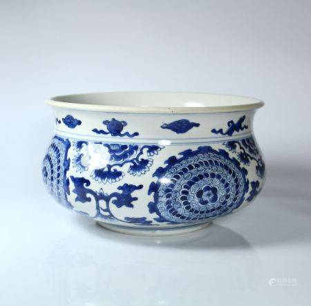 A Blue and White Incense Burner, Kangxi Period, Qing Dyansty