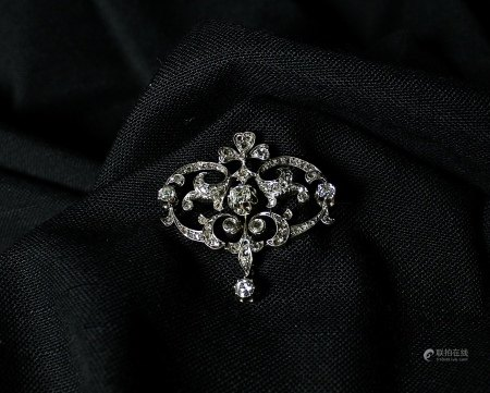 Silver on 15K Gold and Diamond Brooch, 1860s