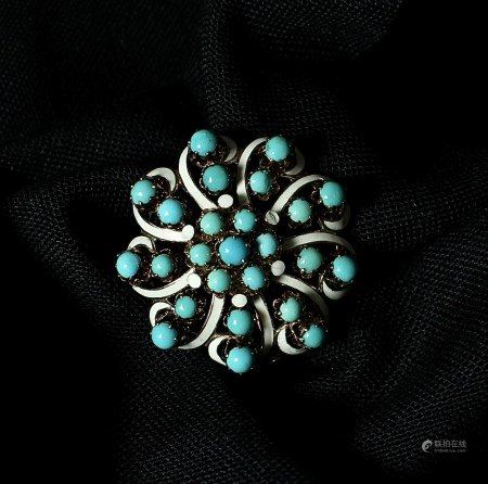 Turquoise, Enamel and 15K Gold Brooch, 1850s