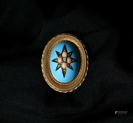 Archaeological Revival 15K Gold, Enamel and Coral Brooch, 1870s