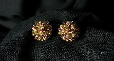 18K Gold, Ruby and Sapphire Stud Earrings, 1970s